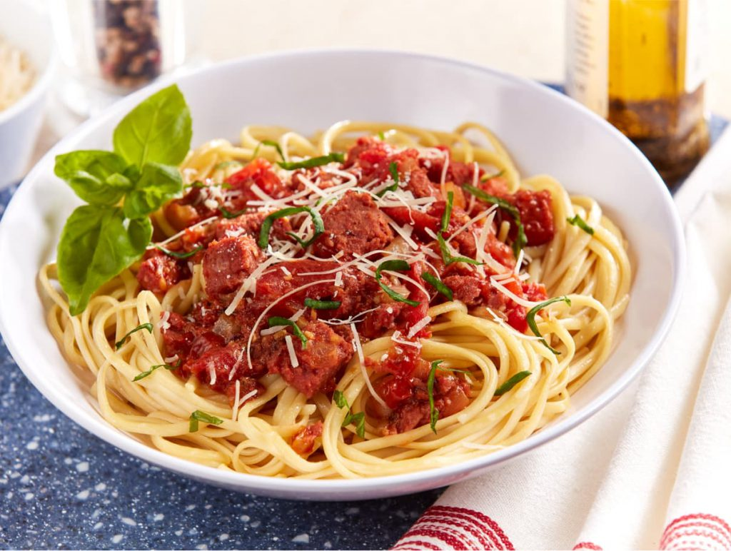 linguine with tomato beef and basil